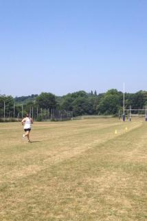 Training hard, Acheson running pitch sprints