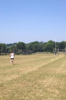 Training hard, Acheson running pitch sprints