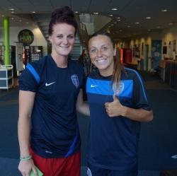 Jas Matthews (left) & Tash Harding (Right) before an evening training session